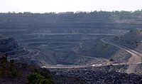 Indian coal production is the 3rd highest in the world according to the 2008 Indian Ministry of Mines estimates. Shown above is a coal mine in Jharkhand.
