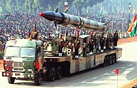 Nuclear capable Agni-II ballistic missile. Since May 1998, India declared itself to be a full-fledged nuclear state.