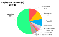 alt=Pie-chart of employment by economic sector.|Percent labour employment in India by economic sectors (2010).<ref>Employment across various sectors, NSSO 66th Nationwide Survey, Planning Commission, Government of India (3 June 2014), pp 116</ref>