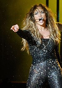 Lopez performing during her Dance Again World Tour, December 2012