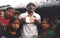 """Ethnic Nepalese (""""Lhotshampa"""") migrants that were forcefully expelled from Bhutan, and arrived in Nepal in the early 1990s."""
