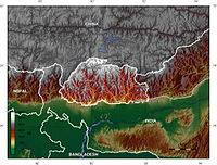 A topographic map of Bhutan.