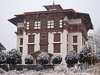 The National Library of Bhutan during snowfall