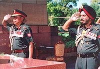 The Royal Bhutan Army Chief of Staff (left) and Indian Army Chief of Staff (right) in 2006