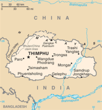 A map of Bhutan showing its borders with China and India.