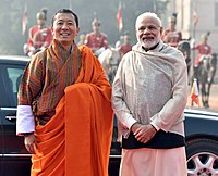 The Prime Ministers of Bhutan (left) and India (right). India and Bhutan have a special relationship.