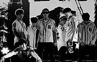 BTS in 2013 performing at the Incheon Music Center.