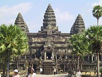 The temple complex of Angkor Wat, built during the reign of Suryavarman II in Cambodia of the Khmer Era.