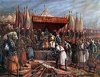 Saladin Ayyubi and Guy of Lusignan after Battle of Hattin.