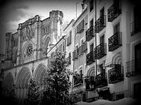 A Black and White Photo of the 12th century Cuenca Cathedral (built from 1182 to 1270) in Cuenca, Spain