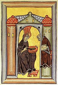 Illumination from the Liber Scivias showing Hildegard von Bingen receiving a vision and dictating to her scribe and secretary