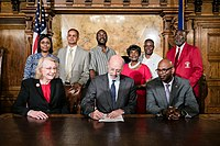 Governor Tom Wolf signing legislation to officially recognize Juneteenth in Pennsylvania in 2019