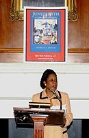 United States Congresswoman Sheila Jackson Lee campaigns for Juneteenth to be a national holiday.