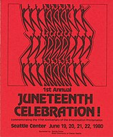 Flyer for a 1980 Juneteenth celebration at the Seattle Center