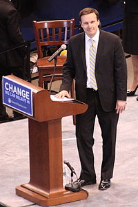 Murphy campaigning for presidential candidate Barack Obama in 2008.