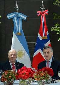 King Harald V with Mauricio Macri, President of Argentina in Buenos Aires, 2018