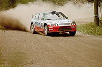 Alister McRae driving an Accent WRC at the 2001 Rally Finland.