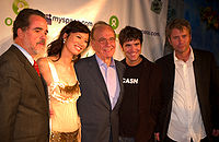 Oxfam America President Raymond C. Offenheiser, Wendi Deng, and Rupert Murdoch with Myspace co-founders Anderson and DeWolfe at the 2006 Oxfam/Myspace Rock for Darfur event