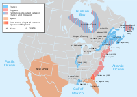 Map of North America in 1702 showing forts, towns and (in solid colors) areas occupied by European settlements