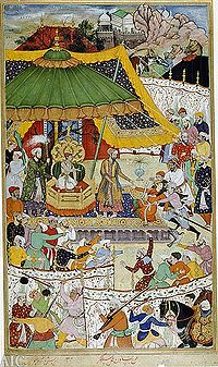 The court of young Akbar, age 13, showing his first imperial act: the arrest of an unruly courtier, who was once a favourite of Akbar's father. Illustration from a manuscript of the Akbarnama