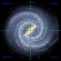 An artistic rendition of the Milky Way galaxy, overlaid with the fictional quadrant system of the Star Trek universe and the location of certain species. Voyager had to make its way from above where the Kazon species is located back to Earth; this journey is a major plot element in the series