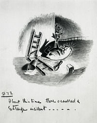 Squealer sprawls at the foot of the end wall of the big barn where the Seven Commandments were written (ch. viii) – preliminary artwork for a 1950 strip cartoon by Norman Pett and Donald Freeman