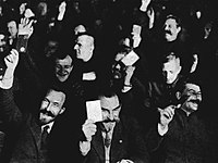 Front row (left to right): Rykov, Skrypnyk, and Stalin – 'When Snowball comes to the crucial points in his speeches he is drowned out by the sheep (Ch. V), just as in the party Congress in 1927 [above], at Stalin's instigation 'pleas for the opposition were drowned in the continual, hysterically intolerant uproar from the floor'. (Isaac Deutscher)