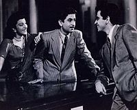 Nargis, Raj Kapoor and Dilip Kumar in Andaz (1949). Kapoor and Kumar are among the greatest and most influential movie stars in the history of Indian cinema, while Nargis is one of its greatest actresses.