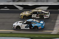 Hill in his No. 66 racing Ryan Newman in the 2020 Daytona 500. Both drivers made headlines that weekend.