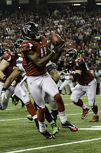 Jones playing for the Atlanta Falcons against the Seattle Seahawks in the divisional round of the 2012 NFL playoffs