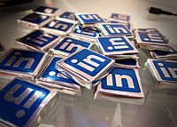"""Social media websites may also use """"traditional"""" marketing approaches, as seen in these LinkedIn-branded chocolates."""