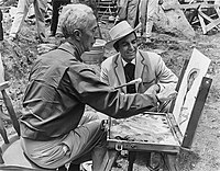 Rockwell painting actor Mike Connors's portrait on the set of Stagecoach (1966).