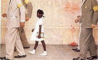The Problem We All Live With – in 2011, this painting was displayed in the White House when President Barack Obama met the subject, Ruby Bridges, at age 56 (video)
