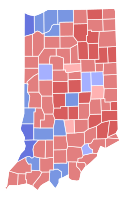 Results of the 2012 Indiana gubernatorial election; Pence won the counties in red.