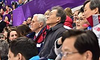 Pence with South Korean president Moon Jae-in at the 2018 Winter Olympics