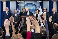 Pence and members of the White House Coronavirus Task Force brief the media in March 2020.