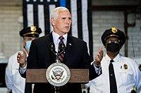 Pence speaks to police officers in Youngstown, Ohio, June 25, 2020.