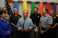 U.S. representative Pence (third from left) behind Governor Mitch Daniels at a 2008 press conference in Martinsville, Indiana