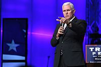 Pence addresses supporters at a church service, September 2016.