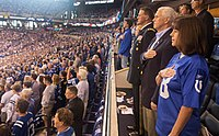 Vice President Mike Pence, Second Lady Karen Pence, and Major General Courtney P. Carr stand for the National Anthem.