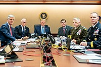 Pence (second from left) during the U.S. military raid on ISIL leader Abu Bakr al-Baghdadi on October 26, 2019