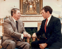 Pence with President Ronald Reagan at the White House in 1988