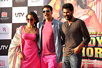Deva with Sonakshi Sinha and Akshay Kumar during the promotion for the film Rowdy Rathore