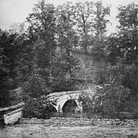 <center>Confederate guns on the hill above poured fire into the Union ranks at Burnside's bridge. Photo taken just after the Battle of Antietam, 1862.</center>