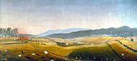 "<center>""A Fateful Turn"" &mdash; Late morning looking east toward the Roulette Farm by Captain James Hope</center>"