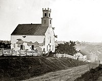 <center>The Lutheran Church just east of Sharpsburg marks the extent of the Union offensive during the Battle of Antietam, 1862.</center>