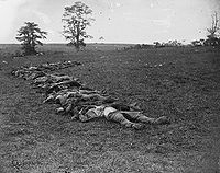Confederate dead gathered for burial after the battle. Photograph by Alexander Gardner.