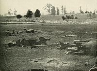 <center>Confederate horses lay dead and artillery caissons destroyed on Antietam battlefield<ref>Site identified by Frassanito, pp. 168&ndash;70.</ref></center>