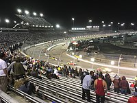 Kyle Busch leads late in the Toyota Owners 400 at Richmond Raceway in April, a race he wins
