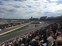 Kyle Larson leads during the second stage of the Bank of America Roval 400 at Charlotte Motor Speedway in September